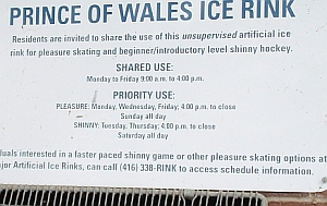Prince Wales Rink Informative, gives contact number for furt...