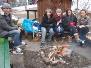 Campfire beside Dufferin Rink...